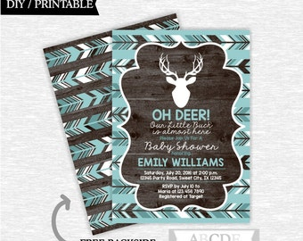 Teal Deer Baby Shower invitation Woodland Baby Shower invitation DIY Printable (SWW010)
