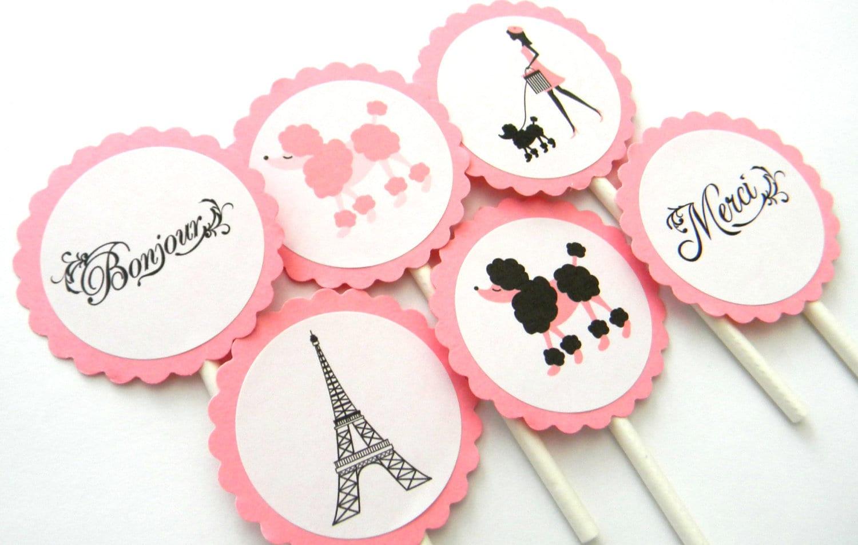 12 París Cupcake Toppers París cumpleaños Baby Shower tema