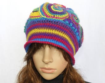 Rainbow Crochet Beanie Hat Beret, OOAK Freeform Crochet in Rainbow colours, Wearable Art