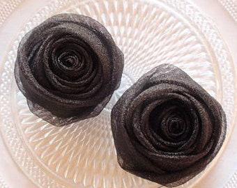 2 Organza Rolled Roses Chiffon Roses Organza Roses Chiffon Flowers Fabric Flower Fabric Rose In Black MY-698-06 Ready To Ship