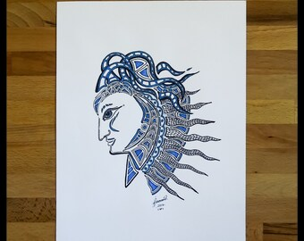 Original Abstract Pen and Ink Drawing on Paper // The Warrior of Air // House Warming Gift // Ready to Frame Art