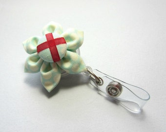 Aqua Polka Dot Retractable Badge Reel, ID Badge Holder, Employee Badge, Badge Reel, Doctor id, Nurse id, School id, Flower Badge Reel