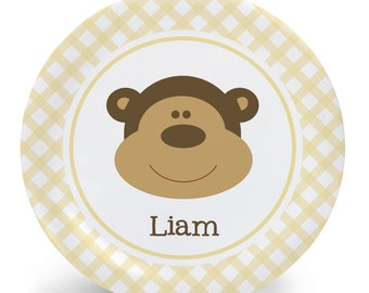 Monkey Plate - Child's Plate - Child's Bowl - Baby Monkey Melamine Bowl or Plate Custom Personalized with Childs Name
