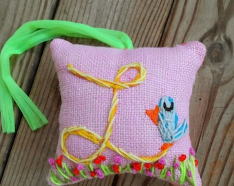 Medium Size Original Freehand Embroidered Initial Pillow Any Theme YelliKelli