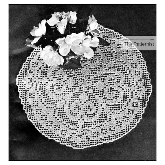 50s Vintage Crochet Pattern Filet Crochet Doily Table Mat Size 30