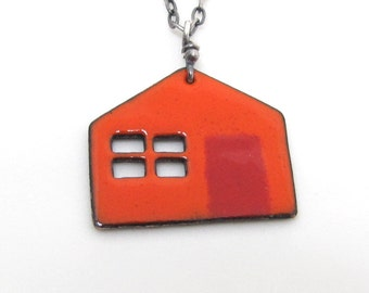 Little Village Orange and Red Torch Fired Enamels Cottage House - made to order