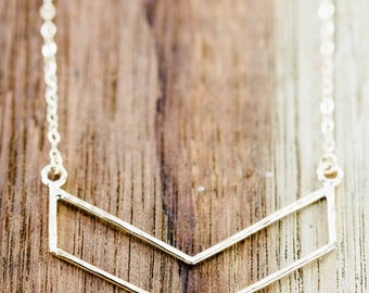 Kaimalie necklace - small gold chevron necklace, gold chevron necklace, gold layered necklace, gold filled necklace, strand necklace, hawaii