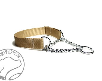 "Mix and Match Chain Martingale in 1"" (25mm) Wide - Your Choice: Size and Color - Plain Nylon Chain Martingale Dog Collar"