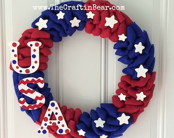 Burlap wreath - Patriotic wreath - red white & blue - 4th of July wreath - American wreath - 4th of July decor - Americana - USA