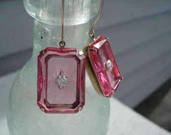 1920's Art Deco Vintage Etched Faceted Czech Crystal Pink Glass Gold Earrings