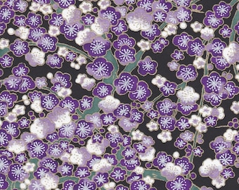 Chiyogami or yuzen paper - cherry blooms - violet, lavender and white on deep black with green branches and gold accents, 9x12 inches