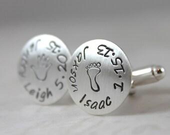 Inspirational, Sterling silver cufflinks, custom name cufflinks, personalized cuff links, mens personalized cufflinks
