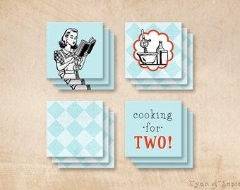 Printable 2x2 Party Squares Favor Tags - Retro Housewife - Retro Housewife Cook - Aqua Blue, White, Black, Red - Retro, Kitsch, 1950s