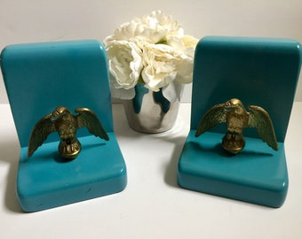 Unique Set of Upcycled Vintage Bookends Solid Wood Painted Teal with Original Brass Eagles