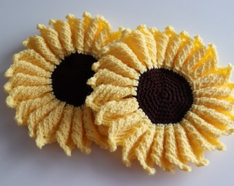 Set of two Sunflower mats. Decoration mats for spring and summer