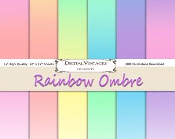 Ombre Digital Paper, Pastel Digital Paper,  digital paper ombre, instant download, digital scrapbooking, Digital Background, pink ombre