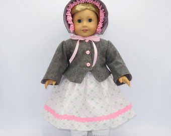 """Gray with Pink Civil War Outfit, Fits 18"""" Dolls // AG Doll Clothes, American Girl Dress, Historical, Period, Jacket, Bonnet, Pantaloons"""