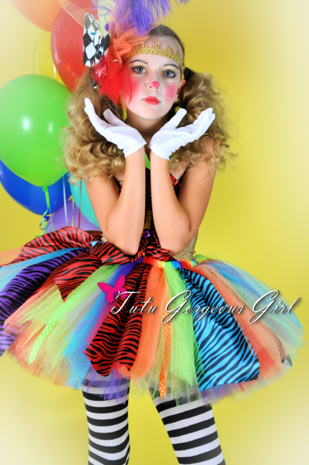 Girls Rainbow Clown Tutu Halloween Clown Tutu Colorful