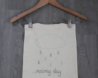 Tote bag embroidered hand rainy day with cloud and rain
