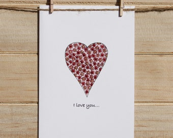 Valentines Card, Valentines Day Card, Love card, I love you so much card, Hearts and Flowers card, Happy Valentines Day card