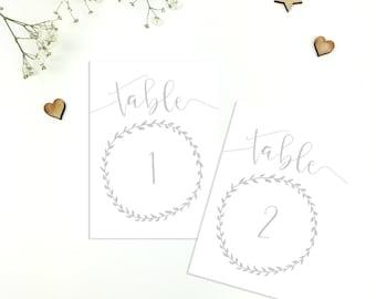 Grey Wreath Wedding Table Numbers/Names