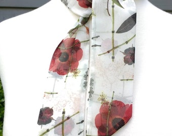 Skinny Scarf, floral scarves, Red Anemones, scarves for women, neck scarf, neck tie, flower garden scarf, wrap