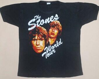 RARE VINTAGE 80s 1982 THE rolling stones world tour rock concert t shirt