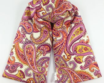 Cooling Neck Wrap / Pink with Mustard / Hot Cold Corn Bag / Plum Paisley