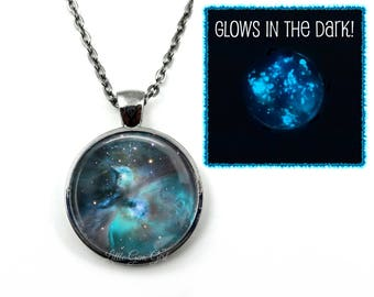 Glow in the Dark Orion Galaxy Necklace - Glowing Orion Nebula Pendant - Custom Choices - Space Astronomy Jewelry - Constellation necklace