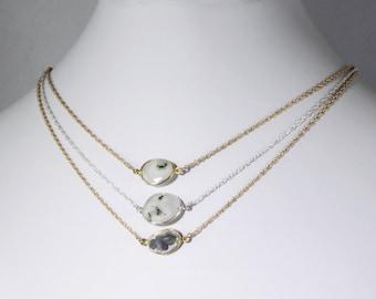 Solar Quartz Necklace Genuine Quartz 14k Gold Vermeil Adjustable Necklace White Necklace Peacock Quartz One of a Kind Stone BZ-P-160.2-SQ/g