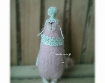 Cute cat Cat of wool Knitted cat Unusual toy Handmade toy Interior toy Collectible toy