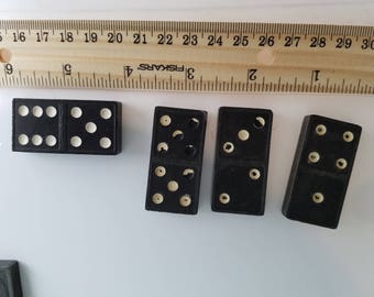 Vintage wooden white dot dominoes, domino crafting, 65 piece lot of wooden dominoes