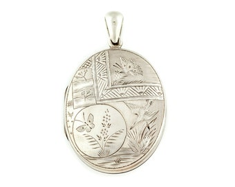 Victorian Aesthetic Silver Locket with Birds and Butterflies c.1880