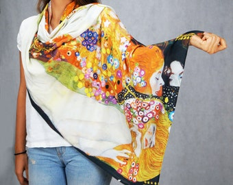 "Gustav Klimt ""Water snakes"" scarf, Wearable art, Painting Scarf, Infinity scarf, Boho scarf, gift for her, girlfriend gift, valentine's gift"