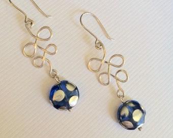 Sterling Silver Ribbon Earrings