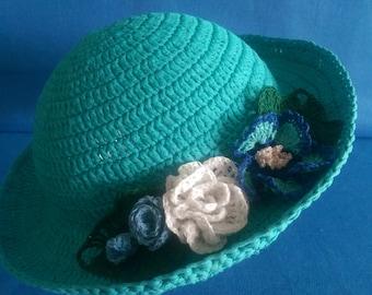 Hat for a little girl, crocheted, new, handmade,