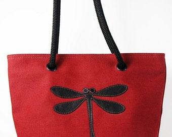 Small canvas tote bag - Red canvas w/ black dragonfly and red stitching