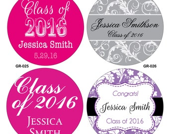 80 Custom Glossy Graduaton Stickers Labels Seals 2 inch round or square - hundreds of designs to choose from - any size/ shape available