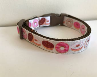 5/8 inch Wide Pink and Brown Sprinkle and Iced Donuts Medium Dog Collar