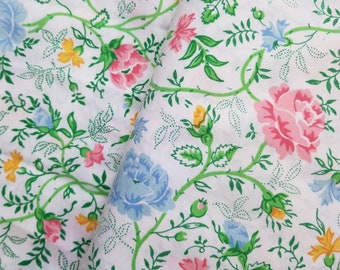 Vtg Full Flat Sheet, JCPenny Multi Floral Pattern, Pink Yellow Blue Roses, Green Vines with Flowers Sheet,Vintage Percale Full Flat Sheets