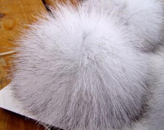 Blue Fox Pom Pom - Authentic, Genuine Fox Fur Pompom, Natural Fox Fur Pom pom balls, large 4 inch Blue grey fox ball, keychain hat Accessory