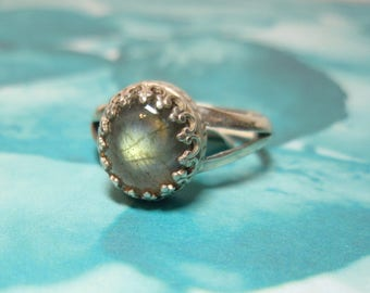 Light Labradorite Gemstone and Sterling Silver Hand Made Ring Size 7 and half