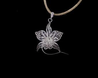 Orchid - Silver Filigree Pendant