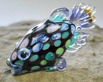 Glass fish bead pendant, green & purple glass fish necklace, Lampwork Glass Beads, ready to wear for men or women, jewelry supplies, SRAJD