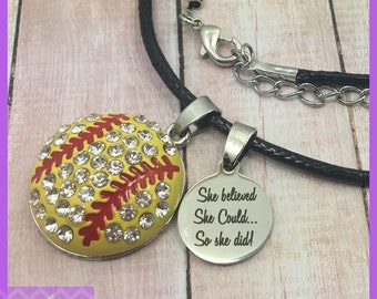 Softball Necklace - End of Season Softball Gifts - She Believed She Could So She Did - Team Gifts - Graduation - Senior Night - Personalized