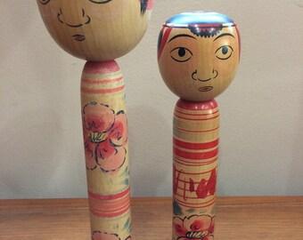 Vintage 1950's tall vintage kokeshi  wide eyed pair