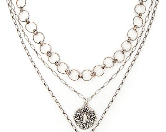 3 Strand Silver French Madonna Medal and French Cross Necklace