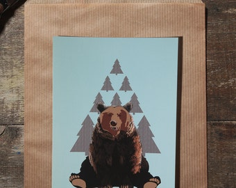 The bear illustration postcard