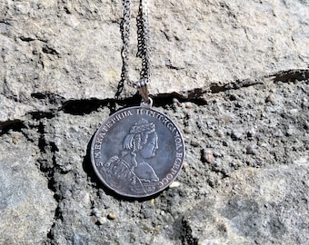 Sterling Silver Catherine the Great coin necklace Vintage Coin jewelry choker necklace Birthday gifts for Mom Graduation gift