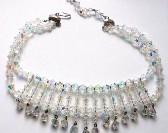 Vintage 1950s 50s Faceted Glass Choker Bib Necklace